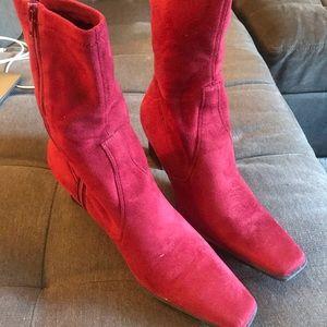 Unique red suede Franco Sarto boots! Sz. 10.
